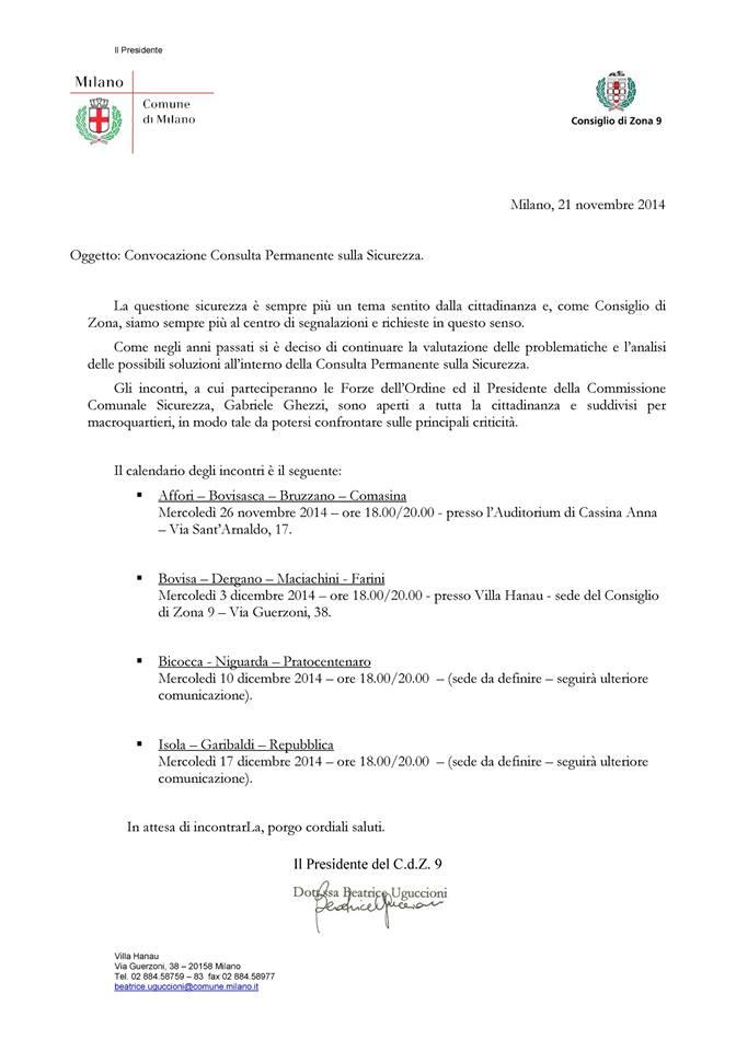 26-11-2014 – Convocazione Consulta Permanente sulla sicurezza